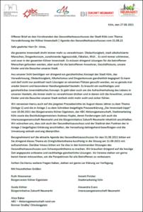 Offener Brief an den Vorsitzenden des Gesundheitsausschusses